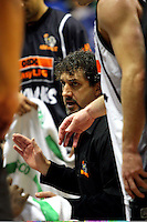 Hawks coach Shawn Dennis discusses tactics with his team during a timeout during the NBL Basketball match between the Wellington Saints and Bay Hawks, TSB Bank Arena, Wellington, New Zealand on Saturday, 10 May 2008. Photo: Dave Lintott / lintottphoto.co.nz