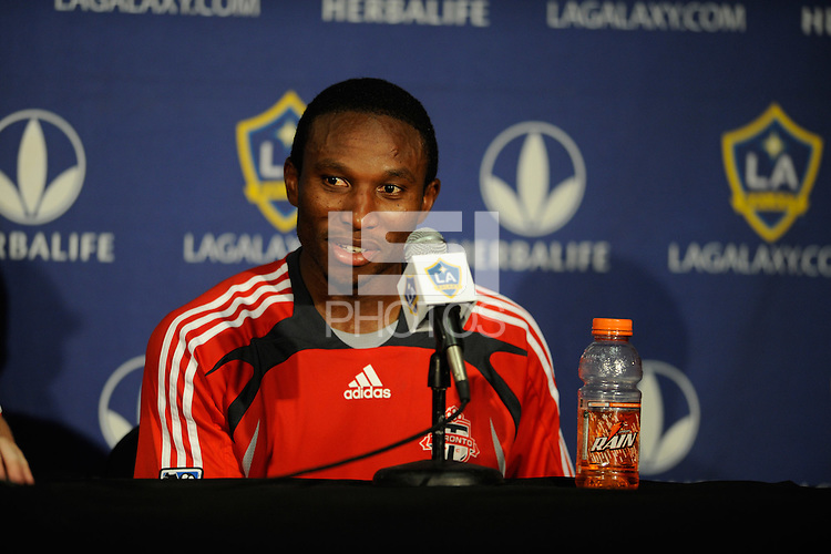 Toronto FC Jeff Cunningham talks to media after beating the Los Angeles Galaxy's 3-2 at the Home Depot Center in Carson, CA on Sundayday, April 13, 2008..(Matt A. Brown)