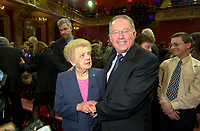 FILE PHOTO March 8 2001 Quebec, Canada<br /> <br /> New Premier of Quebec Bernard Landry (R) and his mother right after  the  presentation of his new cabinet, March 8 2001, at the National Assembly, in Quebec City.<br /> <br /> <br /> <br /> <br /> Mandatory Credit: Photo by Pierre Roussel- Images Distribution. (&copy;) Copyright 2001 by Pierre Roussel <br /> <br /> NOTE : <br />  Nikon D-1 jpeg opened with Qimage icc profile, saved in Adobe 1998 RGB<br /> .Uncompressed  Original  size  file availble on request.
