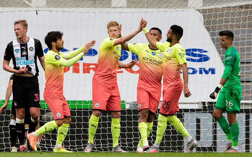 Manchester City's Kevin De Bruyne celebrates scoring the opening goal with teammates<br /> <br /> Photographer Alex Dodd/CameraSport<br /> <br /> FA Cup Quarter-Final - Newcastle United v Manchester City - Sunday 28th June 2020 - St James' Park - Newcastle<br />  <br /> World Copyright © 2020 CameraSport. All rights reserved. 43 Linden Ave. Countesthorpe. Leicester. England. LE8 5PG - Tel: +44 (0) 116 277 4147 - admin@camerasport.com - www.camerasport.com