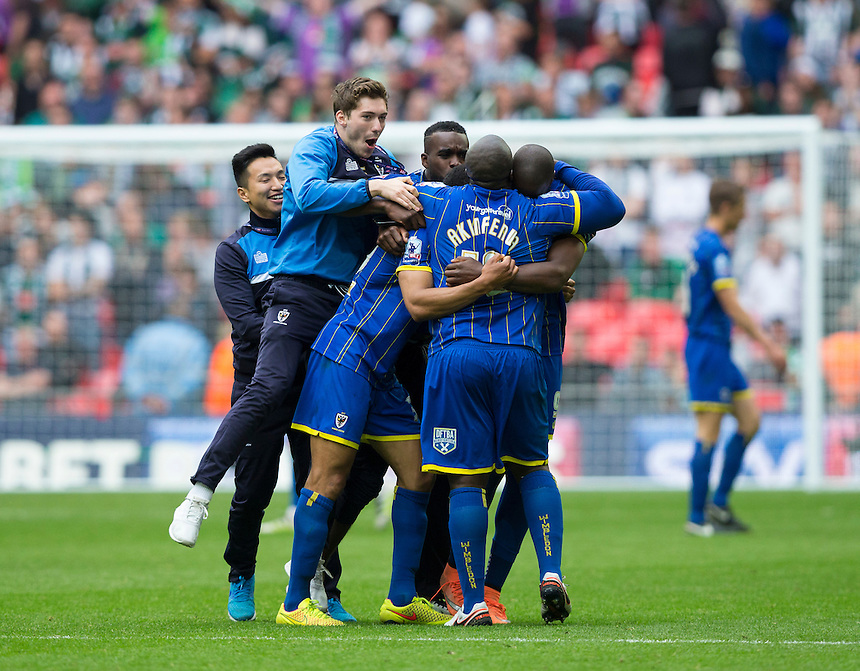 AFC Wimbledon players celebrate their 2-0 victory at full time<br /> <br /> Photographer Craig Mercer/CameraSport<br /> <br /> Football - The Football League Sky Bet League Two Play-Off Final - AFC Wimbledon v Plymouth Argyle - Monday 30 May 2016 - Wembley Stadium - London<br /> <br /> World Copyright &copy; 2016 CameraSport. All rights reserved. 43 Linden Ave. Countesthorpe. Leicester. England. LE8 5PG - Tel: +44 (0) 116 277 4147 - admin@camerasport.com - www.camerasport.com