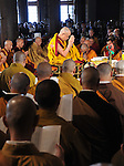 April 29th, 2011, Tokyo, Japan - The Dalai Lama offers a prayer for victims on the customary 49th day of those died in the March 11 earthquake and tsunami during a public prayer service at a Buddhist temple in Tokyo on Friday, April 29th, 2011. The Tibetan spiritual leader was in town for two days on his way to the United States. (Photo by Natsuki Sakai/AFLO) [3615] -mis-