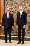 King Felipe VI of Spain receive in audience to Alberto de Monaco at Zarzuela Palace in Madrid. April 22,2016. (ALTERPHOTOS/Borja B.Hojas)