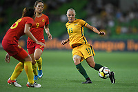 22 November 2017, Melbourne - TAMEKA BUTT (13) of Australia passes the ball during an international friendly match between the Australian Matildas and China PR at AAMI Stadium in Melbourne, Australia.. Australia won 5-1. Photo Sydney Low