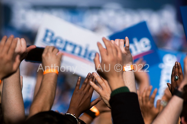 Queens, New York<br /> Queensbridge Park<br /> October 19, 2019<br /> <br /> At diverse crowd of supporters at Senator Bernie Sanders first major campaign rally since suffering from a heart attack earlier this month in Queensbridge Park. <br /> <br /> Congresswoman New York Rep. Alexandria Ocasio-Cortez endorses Sanders for US President at the rally.<br /> <br /> An estimated 26,000 people attended the event according to the Sanders campaign.