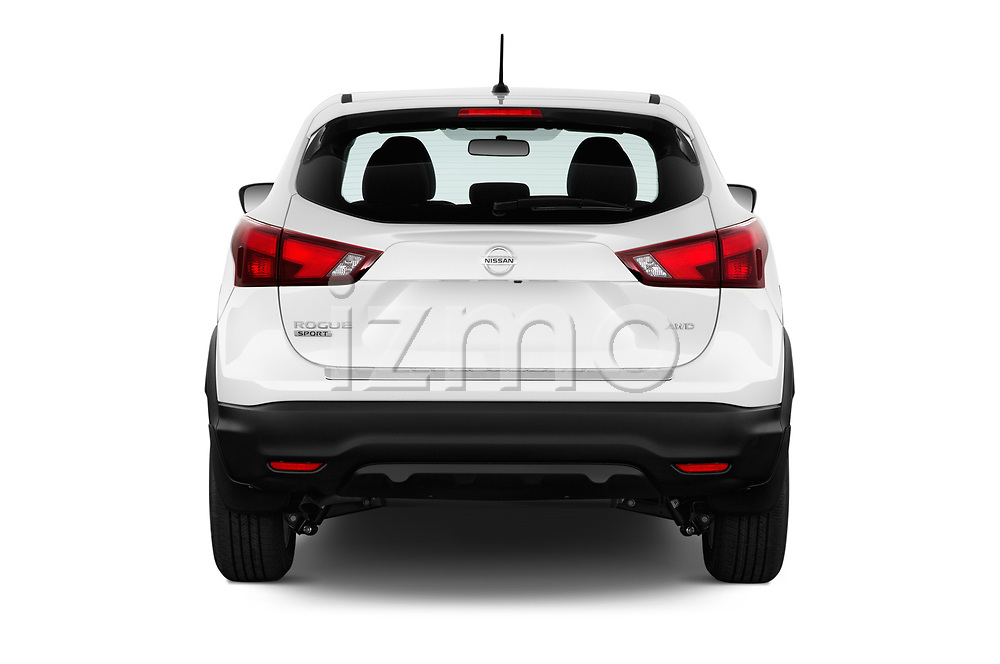 Straight rear view of a 2018 Nissan Rogue Sport S 4WD 5 Door SUV stock images