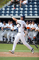 Jordan Qsar (34) of the Pepperdine Waves bats against the Texas A&M Aggies at Eddy D. Field Stadium on February 26, 2016 in Malibu, California. Pepperdine defeated Texas A&M, 7-5. (Larry Goren/Four Seam Images)