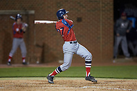 Tommy Derer (27) of the NJIT Highlanders follows through on his swing against the High Point Panthers at Williard Stadium on February 18, 2017 in High Point, North Carolina. The Highlanders defeated the Panthers 4-2 in game two of a double-header. (Brian Westerholt/Four Seam Images)
