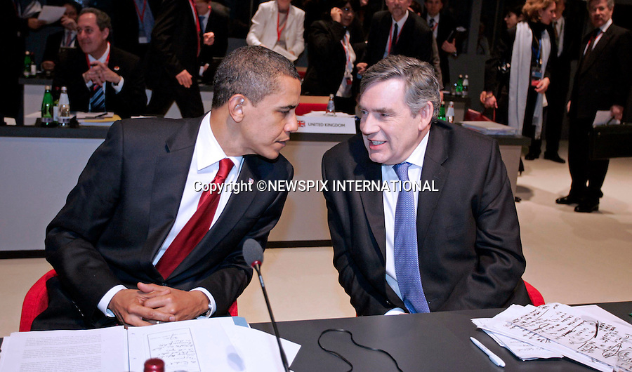 """PRESIDENT BARACK OBAMA AND GORDON BROWN.G20 SUMMIT, Excel Centre, London_02/04/2009.Photo: Newspix International..**ALL FEES PAYABLE TO: """"NEWSPIX INTERNATIONAL""""**..PHOTO CREDIT MANDATORY!!: NEWSPIX INTERNATIONAL(Failure to credit will incur a surcharge of 100% of reproduction fees)..IMMEDIATE CONFIRMATION OF USAGE REQUIRED:.Newspix International, 31 Chinnery Hill, Bishop's Stortford, ENGLAND CM23 3PS.Tel:+441279 324672  ; Fax: +441279656877.Mobile:  0777568 1153.e-mail: info@newspixinternational.co.uk"""