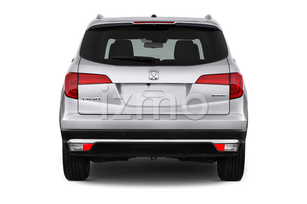 Straight rear view of 2016 Honda Pilot Touring 5 Door Suv Rear View  stock images