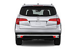 Straight rear view of 2018 Honda Pilot Touring 5 Door Suv Rear View  stock images