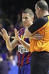 Euroleague el FC Barcelona guanya 83 -82 al Panathinaikos en el primer partit del playoff. Jaka Lakovic parla amb l'arbit