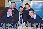 BANKING ON IT: Students from Causeway Comprehensive School at the Bank of Ireland Stand on Tuesday at the Careers Fair in the Brandon Hotel, Tralee with Kerry footballer Killian Young. Pictured l-r: Ricky Keane, Patrick Pierse, John Cantillon, and Richard Casey.