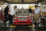 13 June 2008: Patrick Carpentier's Dodge at tech inspection for the LifeLock 400 at Michigan International Speedway, Brooklyn, Michigan, USA.