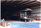 3/4 rear left side view of OR&amp;L parlor car #64 in Hawaiian Railroad Society's shed.<br /> Oahu Ry. &amp; Land Co.  Honolulu, Hi