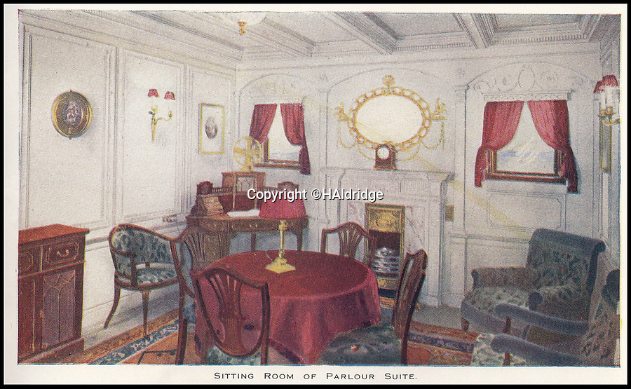 BNPS.co.uk (01202 558833)<br /> Pic: HAldridge/BNPS<br /> <br /> A parlour suite sitting room on the Titanic.<br /> <br /> A rare holiday brochure for the Titanic has surfaced after 106 years.<br /> <br /> The brochure was specifically aimed at rich first and second class passengers and contained colourful images of the most luxurious parts of the doomed liner.<br /> <br /> It walked the reader through different parts of the 'unsinkable' ship, from the opulent reception room, to the Louis XVI period designed restaurant and the promenade deck.<br /> <br /> The sumptuous state rooms that cost the equivalent of £40,000 to stay in, are featured in the fascinating brochure as is the famous grand staircase that featured heavily in the 1997 movie starring Kate Winslet.