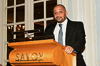 Curtis Woodhouse speaks during the Boxing Writers Club Annual Dinner at the Savoy Hotel on 7th October 2019