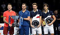 Jack Sock, Mike Bryan, Pierre-Hughes Herbert and Nicolas Mahut posing with their trophies <br /> <br /> Photographer Hannah Fountain/CameraSport<br /> <br /> International Tennis - Nitto ATP World Tour Finals Day 8 - O2 Arena - London - Sunday 18th November 2018<br /> <br /> World Copyright &copy; 2018 CameraSport. All rights reserved. 43 Linden Ave. Countesthorpe. Leicester. England. LE8 5PG - Tel: +44 (0) 116 277 4147 - admin@camerasport.com - www.camerasport.com