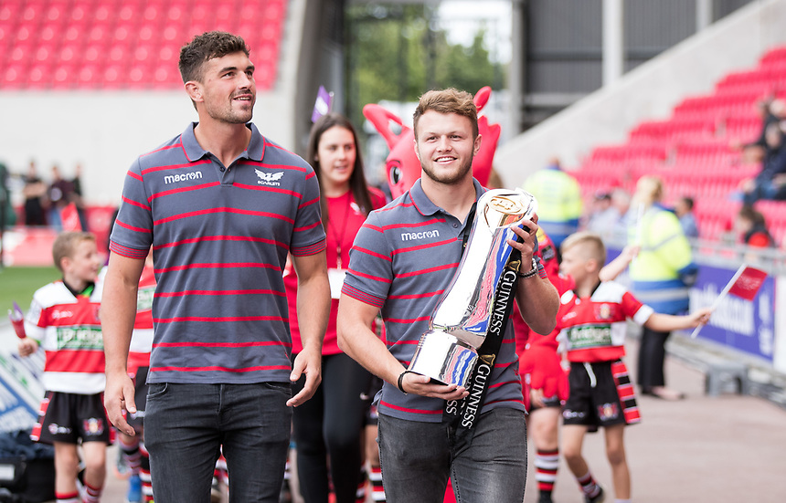 Scarlets parade the Pro12 trophy as Champions<br /> <br /> Photographer Simon King/CameraSport<br /> <br /> Guinness Pro14 Round 1 - Scarlets v Southern Kings - Saturday 2nd September 2017 - Parc y Scarlets - Llanelli, Wales<br /> <br /> World Copyright &copy; 2017 CameraSport. All rights reserved. 43 Linden Ave. Countesthorpe. Leicester. England. LE8 5PG - Tel: +44 (0) 116 277 4147 - admin@camerasport.com - www.camerasport.com