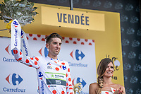 Kevin Ledanois (FRA/Team Fortuneo Samsic) takes the Polka Dot Jersey.<br /> <br /> Stage 1: Noirmoutier-en-l'&Icirc;le &gt; Fontenay-le-Comte (189km)<br /> <br /> Le Grand D&eacute;part 2018<br /> 105th Tour de France 2018<br /> &copy;kramon