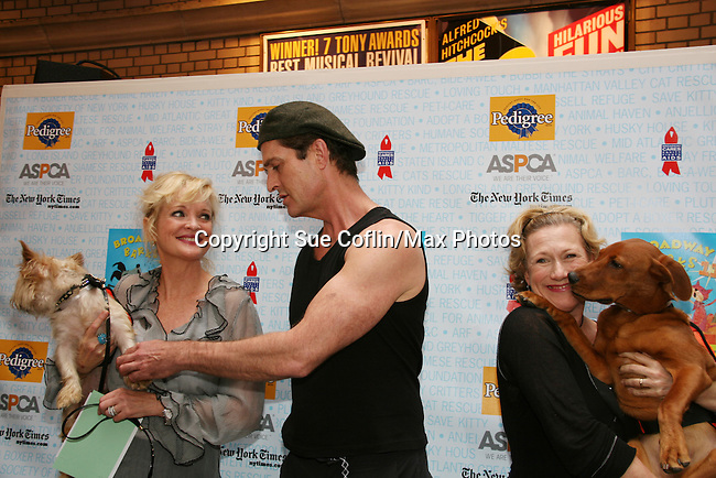 "Blithe Spiriit - Christine Ebersole, Rupert Everett and Jayne Atkinson at Broadway Barks 11 - a ""Pawpular"" star-studded dog and cat adopt-a-thon on July 11, 2009 in Shubert Alley, New York City, NY. (Photo by Sue Coflin/Max Photos)"