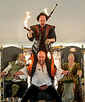 The Warren County Fair grandstand got very medieval July 27 when the nationally-known Knights of Valour performed a jousting tournament for a nearly packed house. The court magician and court jester perform for the royals and the VIPs.