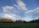Landscape scenery at Blewett Pass, in the Wenatchee Mountains featuring a clouds and trees over a meadow. Stock photography by Olympic Photo Group