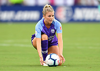 Orlando, FL - Saturday July 20, 2019:  Erin Greening #19 during a regular season National Women's Soccer League (NWSL) match between the Orlando Pride and the Sky Blue FC at Exploria Stadium.