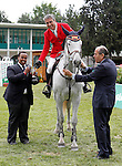 Spain's jockey Juan Riva with the horse Louisa 2th classified during 102 International Show Jumping Horse Riding, King's College Trophy. May, 20, 2012. (ALTERPHOTOS/Acero)