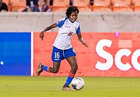 HOUSTON, TX - FEBRUARY 3: Abaina Louis #16 of Haiti dribbles during a game between Panama and Haiti at BBVA Stadium on February 3, 2020 in Houston, Texas.
