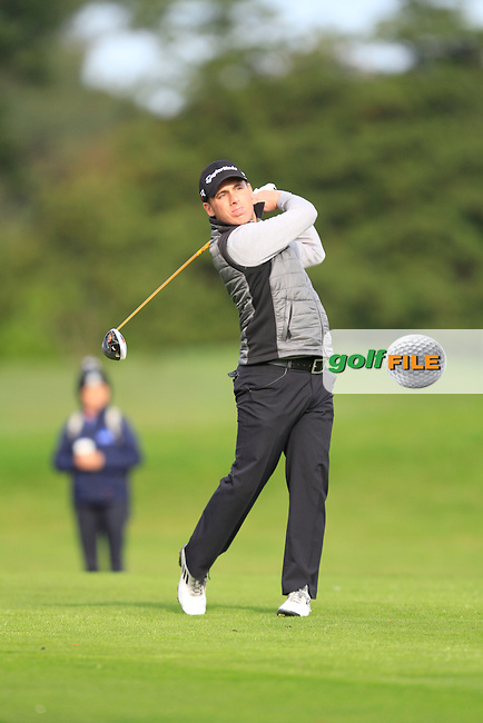 Cian McNamara (Monkstown G.C) on the 13th tee during Round 4 of The Cassidy Golf 103rd Irish PGA Championship in Roganstown Golf Club on Sunday 13th October 2013.<br /> Picture:  Thos Caffrey / www.golffile.ie