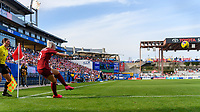 FRISCO, TX - MARCH 11: Alex Greenwood #3 of England takes a corner kick during a game between England and Spain at Toyota Stadium on March 11, 2020 in Frisco, Texas.