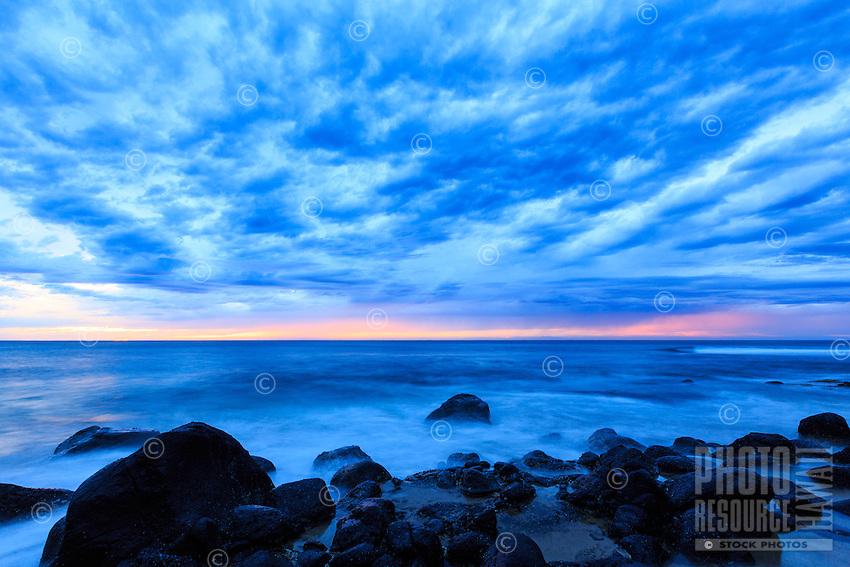 Dusk settles in at Ke'e Beach, Ha'ena State Park, Na Pali Coast, Kaua'i.