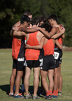 Nov 14, 2015; Claremont, CA, USA; Occidental College runners huddle before the start of the mens race during the 2015 NCAA Division III West Regionals cross country championships at Pomona-Pitzer College. (Freelance photo by Kirby Lee)