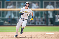 Michigan Wolverines shortstop Jack Blomgren (2) runs to third base during Game 11 of the NCAA College World Series against the Texas Tech Red Raiders on June 21, 2019 at TD Ameritrade Park in Omaha, Nebraska. Michigan defeated Texas Tech 15-3 and is headed to the CWS Finals. (Andrew Woolley/Four Seam Images)