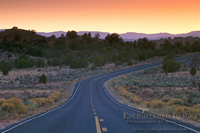 Sunset over Scenic Byway route into Kodachrome Basin State Park, near Cannonville, Bryce Canyon area, UTAH