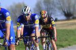 The peloton including Belgian National Champion Yves Lampaert (BEL) Deceuninck-Quick Step descend off Paterberg during the 2019 E3 Harelbeke Binck Bank Classic 2019 running 203.9km from Harelbeke to Harelbeke, Belgium. 29th March 2019.<br /> Picture: Eoin Clarke | Cyclefile<br /> <br /> All photos usage must carry mandatory copyright credit (© Cyclefile | Eoin Clarke)