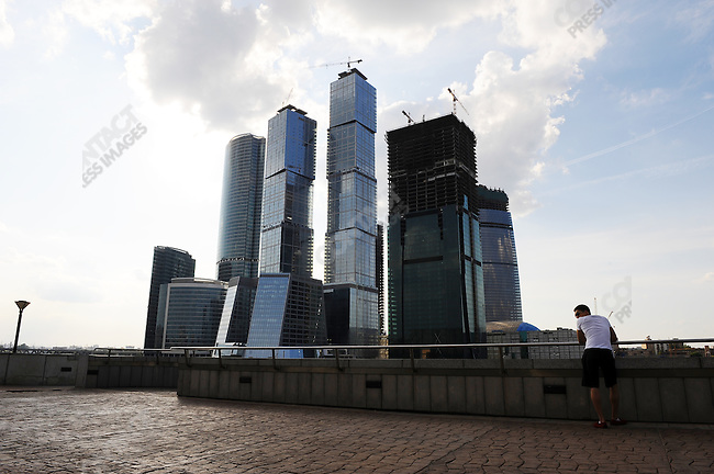 The Moscow City business centre development on the banks of the River Moscow including the Federation Tower. Moscow, Russia, July 12, 2009