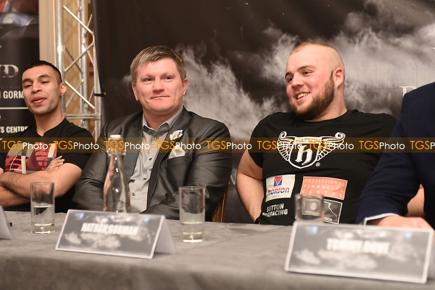 Rickey Hatton (C) and Nathan Gorman (R) during a DoveBox Promotions Press Conference at the Landmark Hotel on 9th March 2017