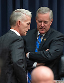 "United States Representative Mark Meadows (Republican of North Carolina), right, and US Representative Trey Gowdy (Republican of South Carolina), Chairman, US House Committee on Oversight and Government Reform discuss the Democrat's request to release the closed-door transcript of FBI Deputy Assistant Director Peter Strzok as testifies during a joint hearing of the US House Committee on the Judiciary and the US House Committee on Oversight and Government Reform on ""Oversight of FBI and DOJ Actions Surrounding the 2016 Election"" on Capitol Hill in Washington, DC on Thursday, July 12, 2018. <br /> Credit: Ron Sachs / CNP<br /> (RESTRICTION: NO New York or New Jersey Newspapers or newspapers within a 75 mile radius of New York City)"