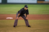 Field umpire Edgar Suarez during a Pioneer League game between the Great Falls Voyagers and Idaho Falls Chukars at Melaleuca Field on August 18, 2018 in Idaho Falls, Idaho. The Idaho Falls Chukars defeated the Great Falls Voyagers by a score of 6-5. (Zachary Lucy/Four Seam Images)