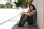 Kelton Woodburn poses for a portrait after a skate session at Ojai Skatepark in Ojai, Calif., on Friday April 12, 2013.
