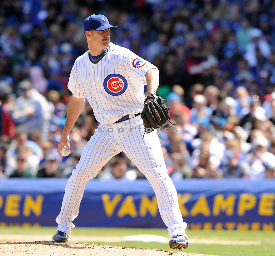 JEFF GRAY, of the Chicago Cubs , in action during the Cubs  game against the Houston Astros at Wrigley Field in Chicago, Illinois  on April 17, 2010...The Astros win 4-3