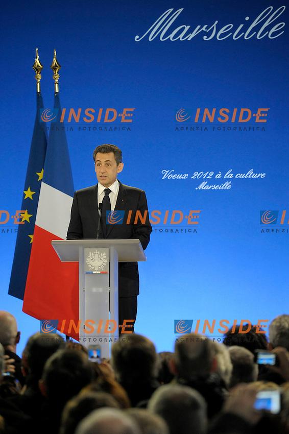 Nicolas Sarkozy, Presidente della Repubblica Francese..24/01/2012 Marsiglia.Saluto al mondo della cultura.Foto Insidefoto / Franck Pennant / Panoramic