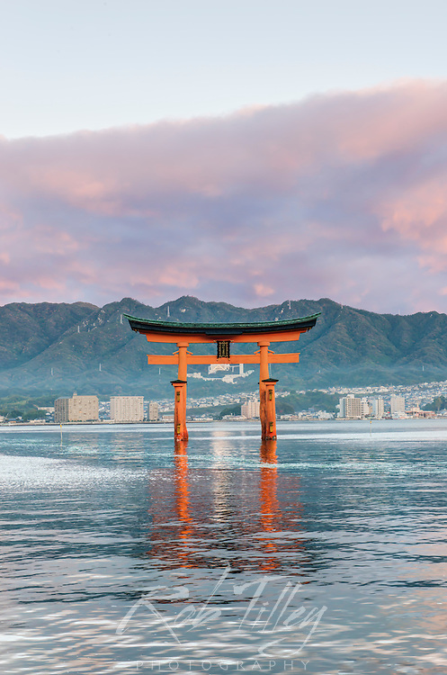 Japan, Miyajima, Itsukushima Shrine, Floating Torii Gate at Sunrise