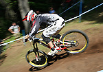 2012 Rockyroads.net UCI World Cup Mountain Biking Downhill, Val Di Sole Italy . A rider on 02/06/2012, Val Di Sole, Italy..© Pierre Teyssot