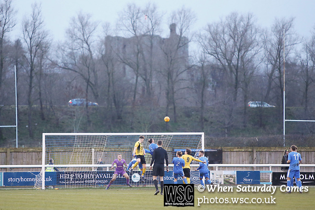 Hebburn attack with Brougham Castle and the A66 in the background. Penrith AFC V Hebburn Town, Northern League Division One, 22nd December 2018. Penrith are the only Cumbrian team in the Northern League. All the other teams are based across the Pennines in the north east.<br />