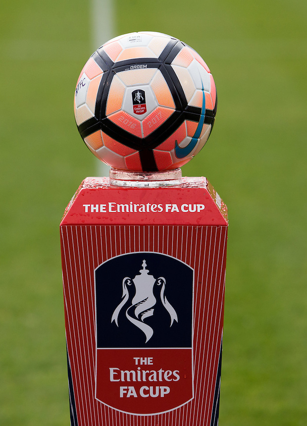 The Nike Ordem III 16-17 FA Cup Ball on a stand before the game<br /> <br /> Photographer James Williamson/CameraSport<br /> <br /> The Emirates FA Cup First Round - Alfreton Town v Newport County - Sunday 6th November 2016 - North Street - Alfreton<br />  <br /> World Copyright &copy; 2016 CameraSport. All rights reserved. 43 Linden Ave. Countesthorpe. Leicester. England. LE8 5PG - Tel: +44 (0) 116 277 4147 - admin@camerasport.com - www.camerasport.com