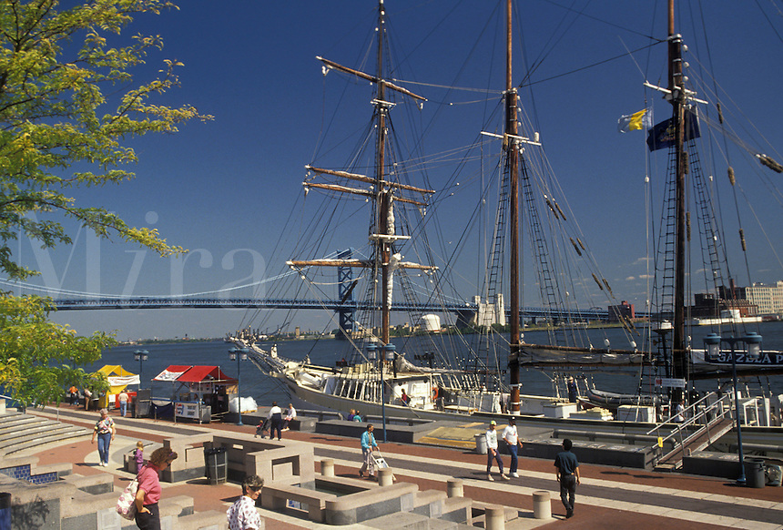 AJ3057, Philadelphia, Pennsylvania, Penn's Landing, Gazela of Philadelphia is docked on the waterfront of Historic Penn's Landing along the Delaware River in Philadelphia in the state of Pennsylvania.