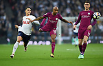 Fabian Delph of Manchester City is challenged by Erik Lamela of Tottenham Hotspur Hotspur during the premier league match at the Wembley Stadium, London. Picture date 14th April 2018. Picture credit should read: Robin Parker/Sportimage